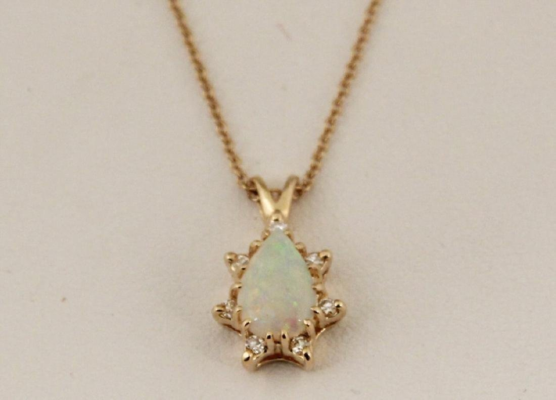 14K GOLD DIAMOND AND OPAL NECKLACE