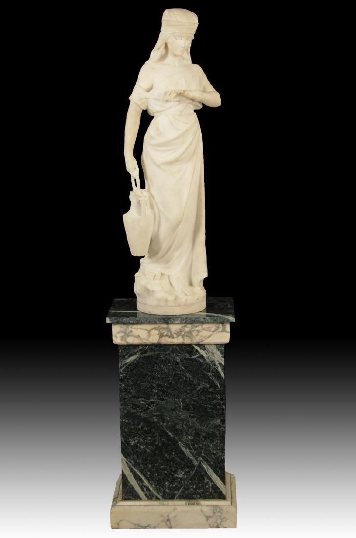 ITALIAN SIGNED MARBLE OF YOUNG GIRL WITH WATER VESSEL