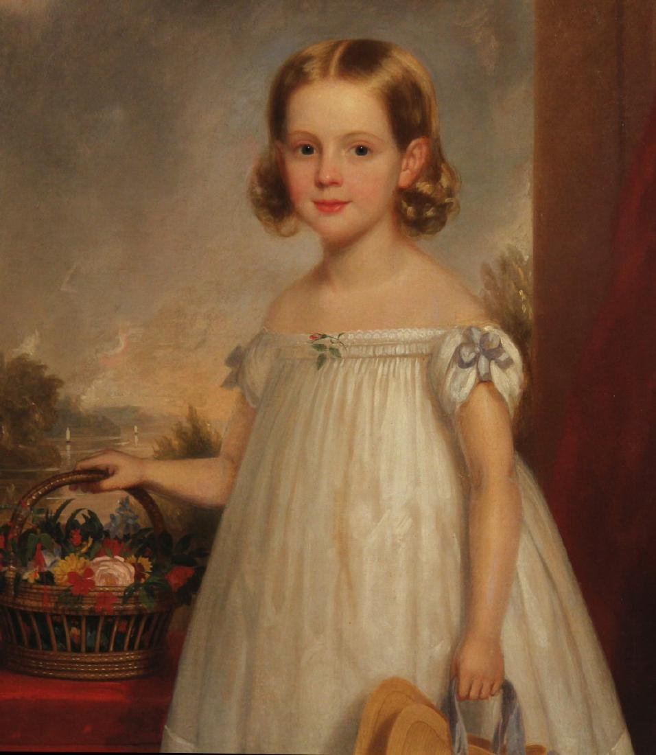 F.R.SPENCER, 19TH C. AMER. O/C PORTRAIT OF YOUNG GIRL