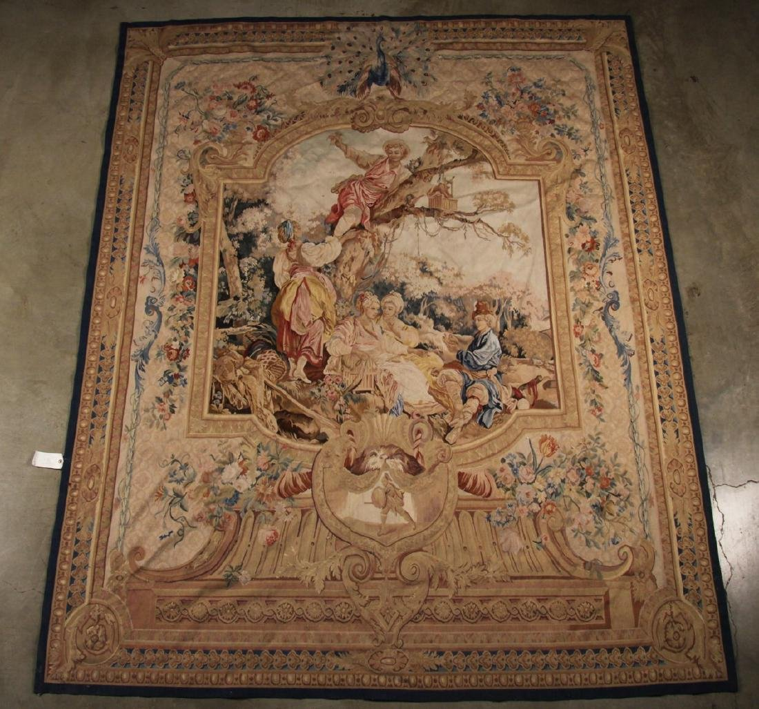 """FRENCH STYLE AUBUSSON TAPESTRY 7'2"""" X 8'11"""""""