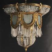 ANTIQUE FRENCH GILT BRONZE AND CRYSTAL CHANDELIER