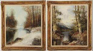COMPLIMENTING PAIR OF 20TH C. SIGNED O/C WINTER SCENES