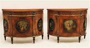 IMPORTANT PAIR OF ENGLISH SATINWOOD COMMODES