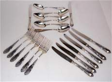 LOUIS XV PATTERN FRENCH SILVER PLATED FLATWARE