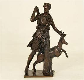 "31.5"" FRENCH BRONZE OF DIANA, THE HUNTRESS"