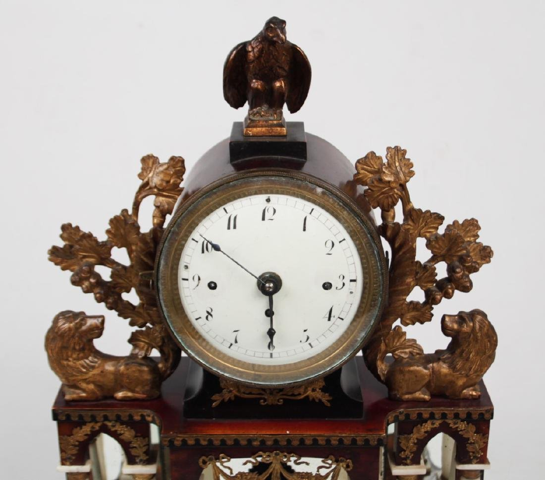 AUSTRIAN GILT METAL AND CARVED WOOD MANTLE CLOCK - 3