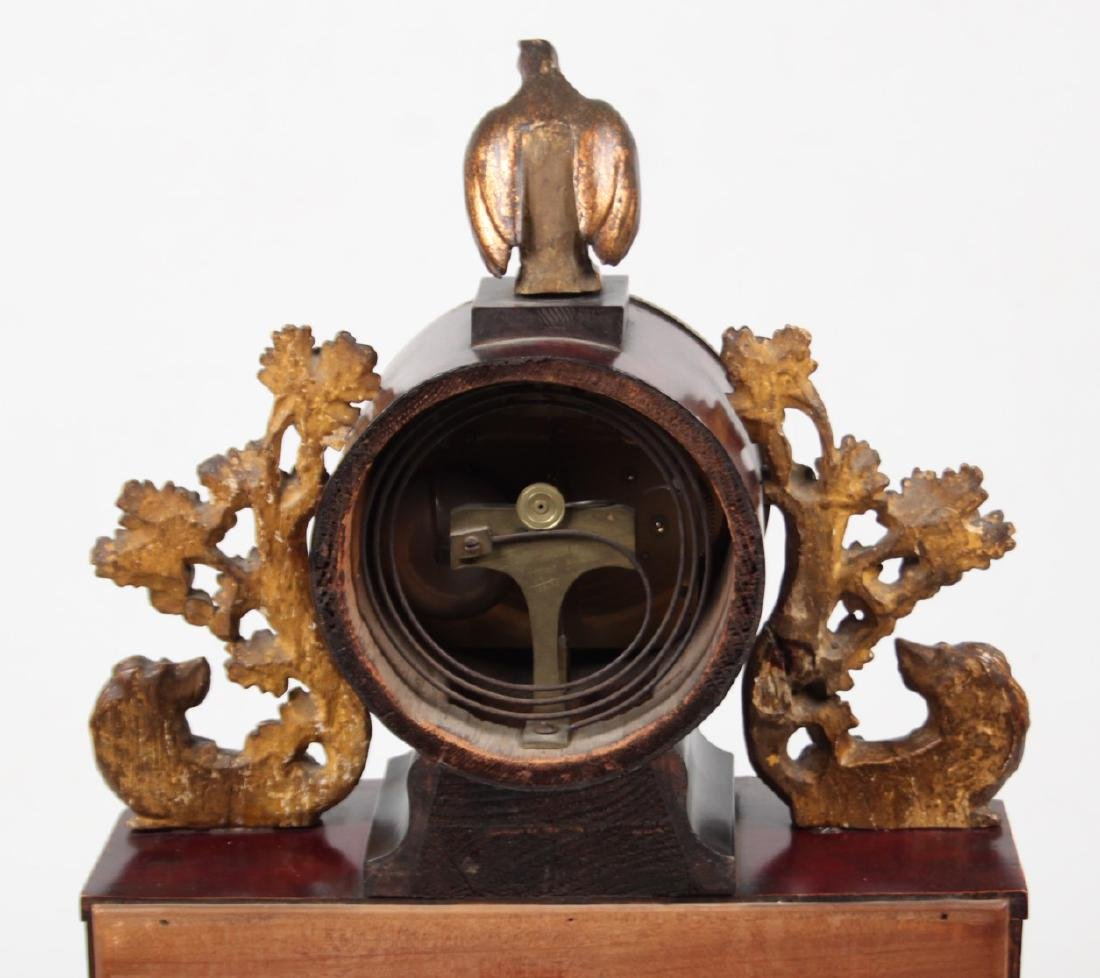 AUSTRIAN GILT METAL AND CARVED WOOD MANTLE CLOCK - 4
