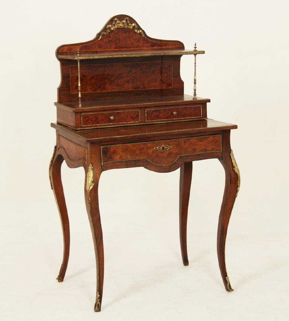 19TH C. FRENCH BURL WALNUT BUREAU DE DAME