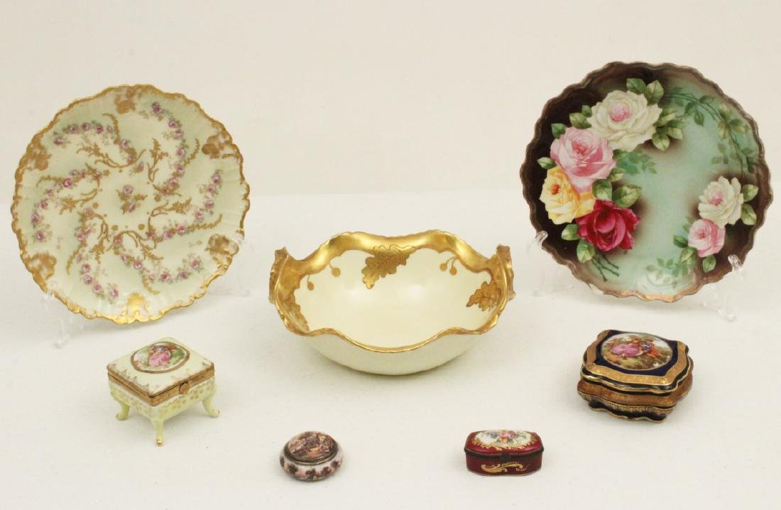 7 PC. MISC. LOT OF FRENCH HANDPAINTED PORCELAINS