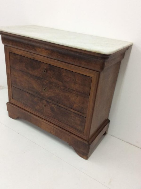 FRENCH LOUIS PHILIPPE MARBLE TOP COMMODE - 3