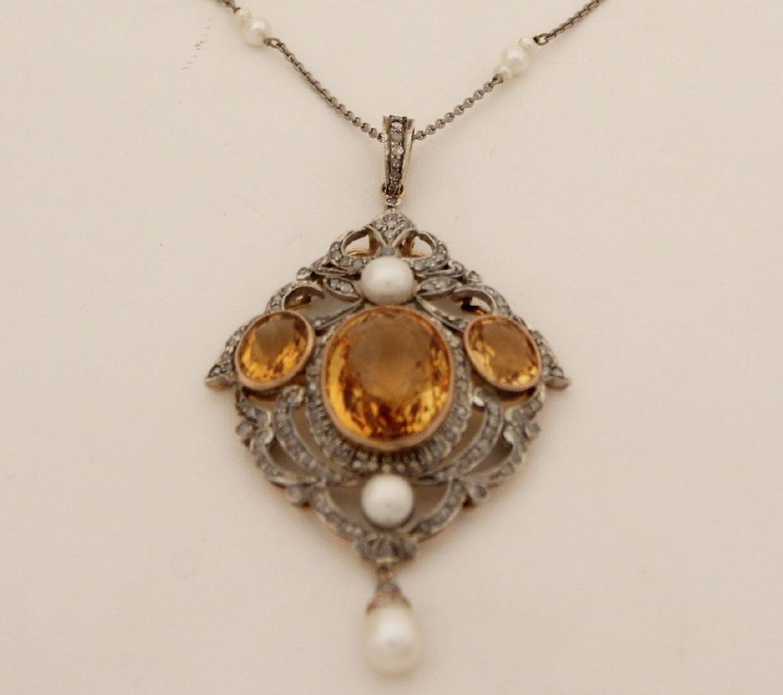 18K  DIAMOND, CITRINE AND PEARL  NECKLACE