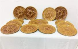 13 PC MISC LOT OF FRENCH MAJOLICA OYSTER PLATES