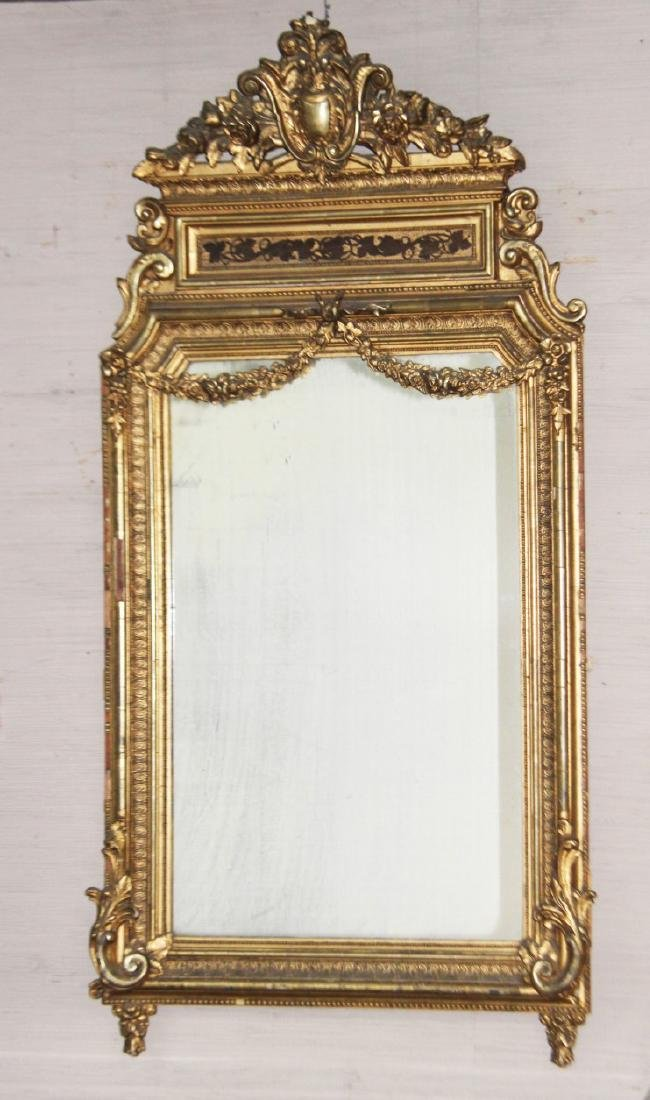 LOUIS XVI STYLE CARVED GOLD GILTWOOD MIRROR