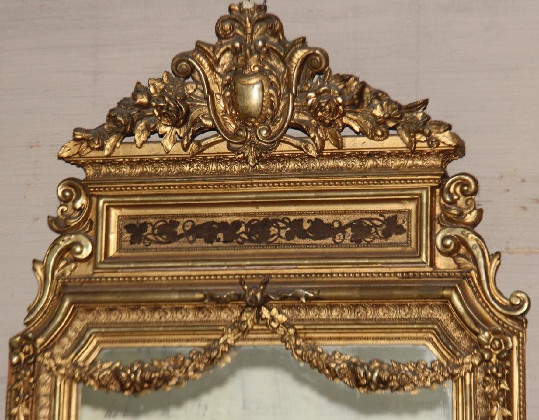 LOUIS XVI STYLE CARVED GOLD GILTWOOD MIRROR - 2