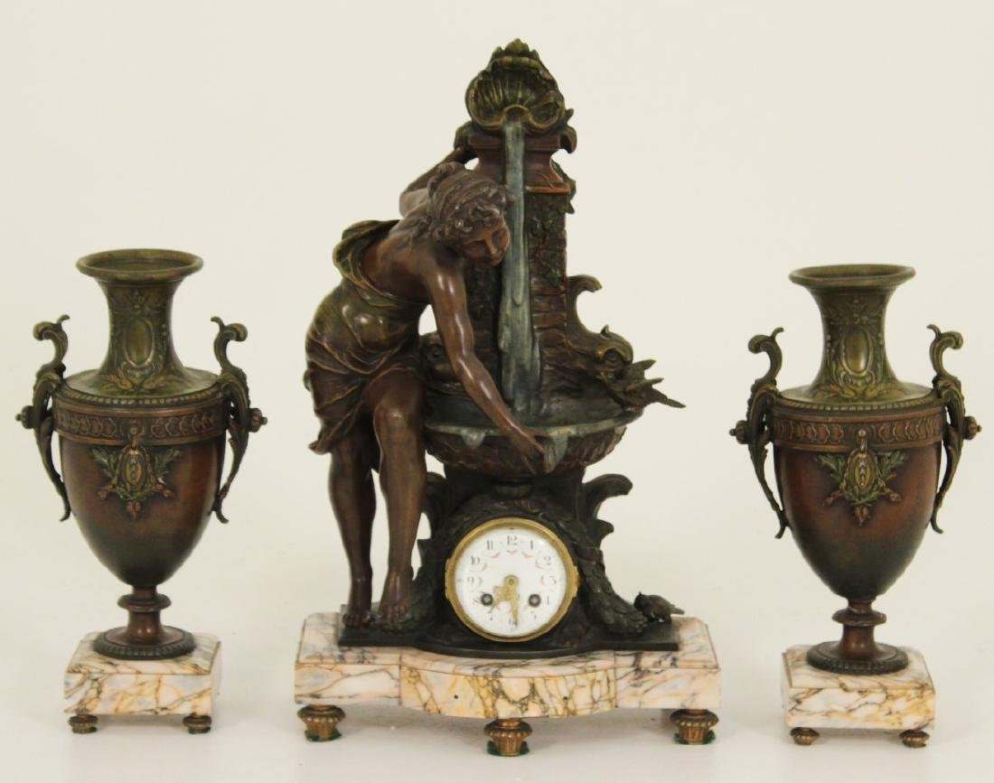 3 PC. FRENCH PATINATED BRONZE CLOCK SET