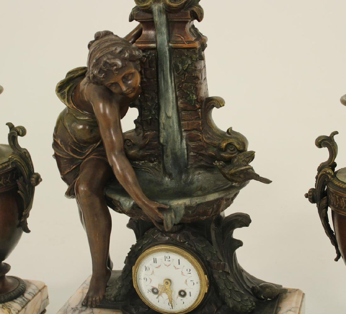 3 PC. FRENCH PATINATED BRONZE CLOCK SET - 2