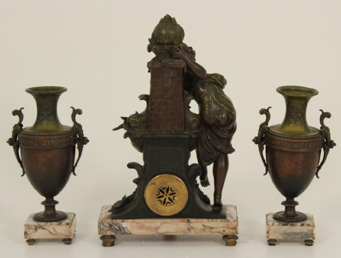 3 PC. FRENCH PATINATED BRONZE CLOCK SET - 3