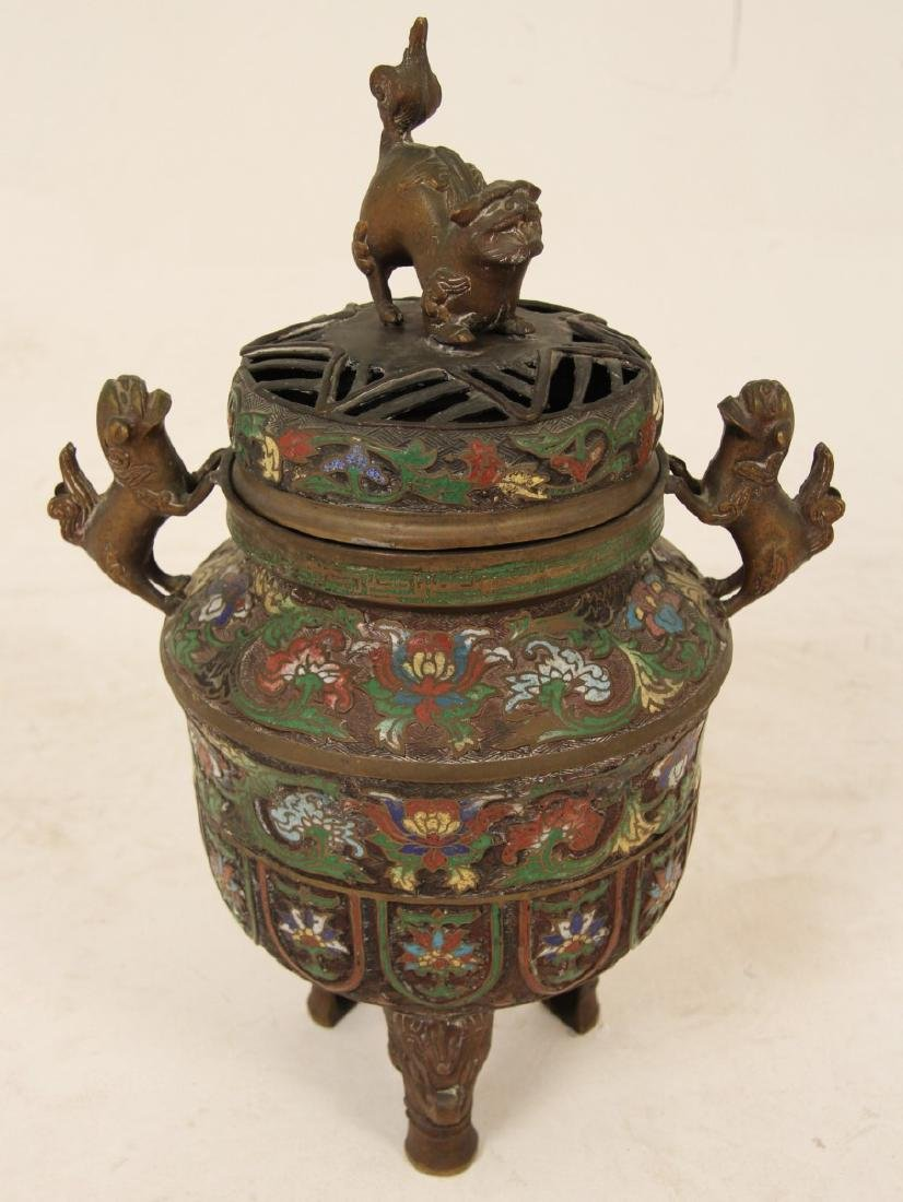 CHINESE BRONZE AND ENAMEL CAPPED INCENSE BURNER