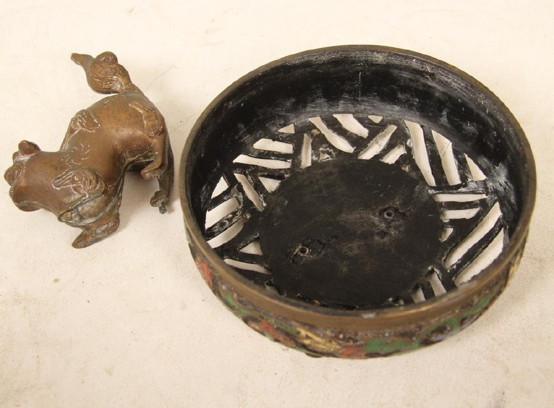 CHINESE BRONZE AND ENAMEL CAPPED INCENSE BURNER - 2