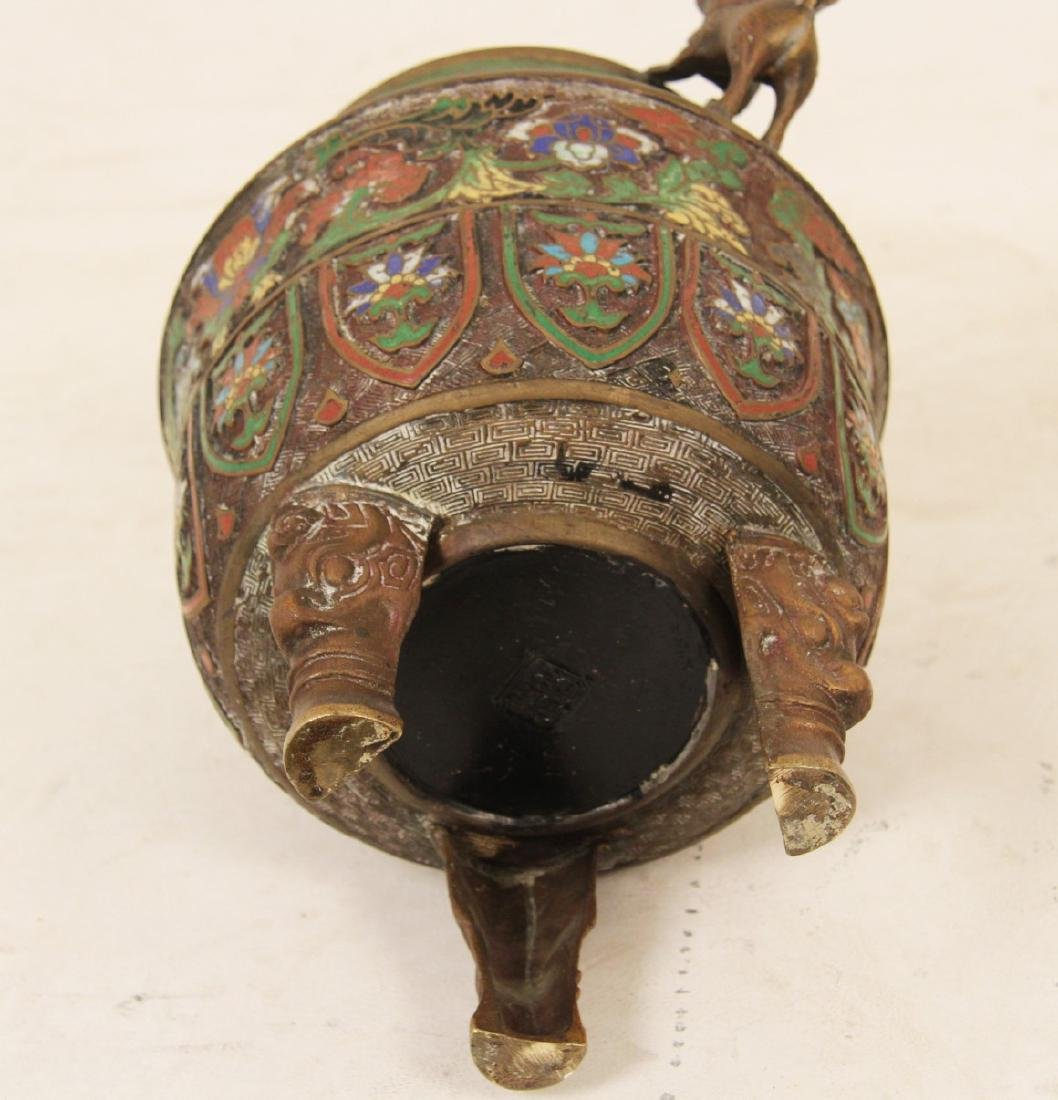 CHINESE BRONZE AND ENAMEL CAPPED INCENSE BURNER - 3