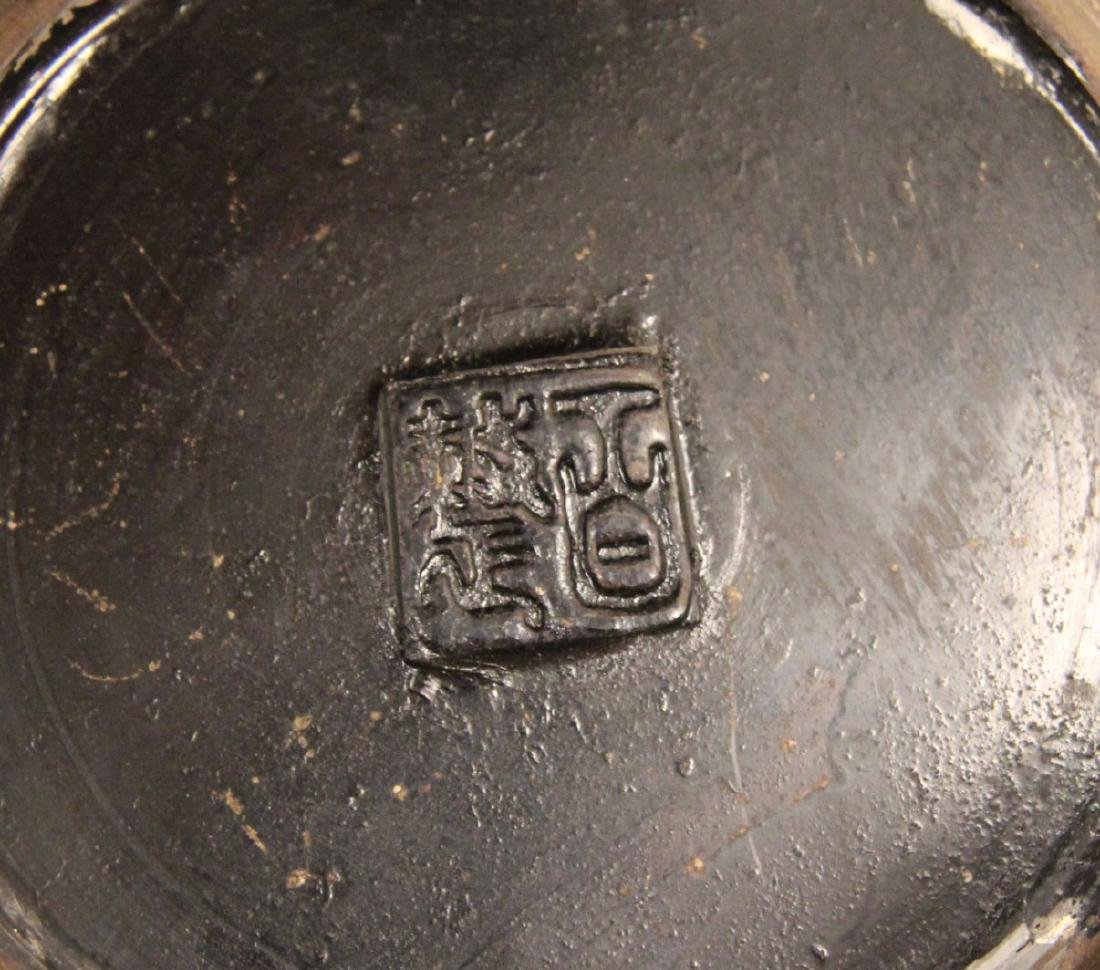 CHINESE BRONZE AND ENAMEL CAPPED INCENSE BURNER - 4