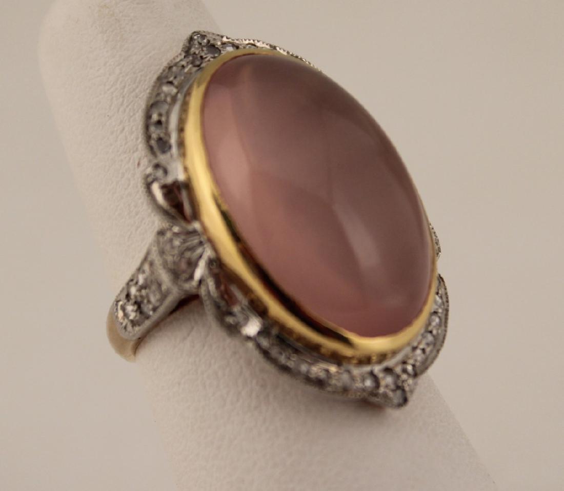 18K DIAMOND AND ROSE QUARTZ RING - 2