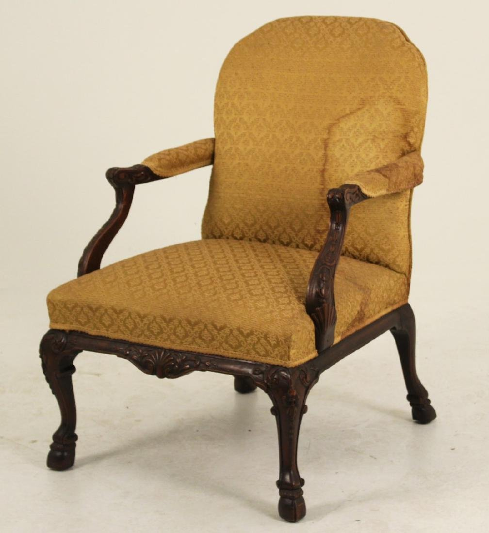 CARVED MAHOGANY GAINSBORO STYLE ARM CHAIR