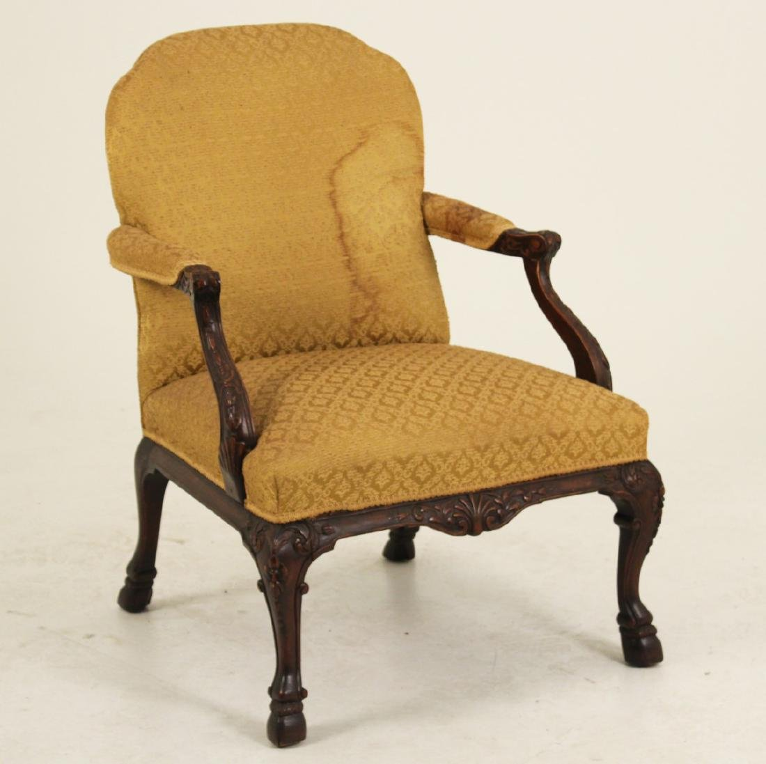 CARVED MAHOGANY GAINSBORO STYLE ARM CHAIR - 2