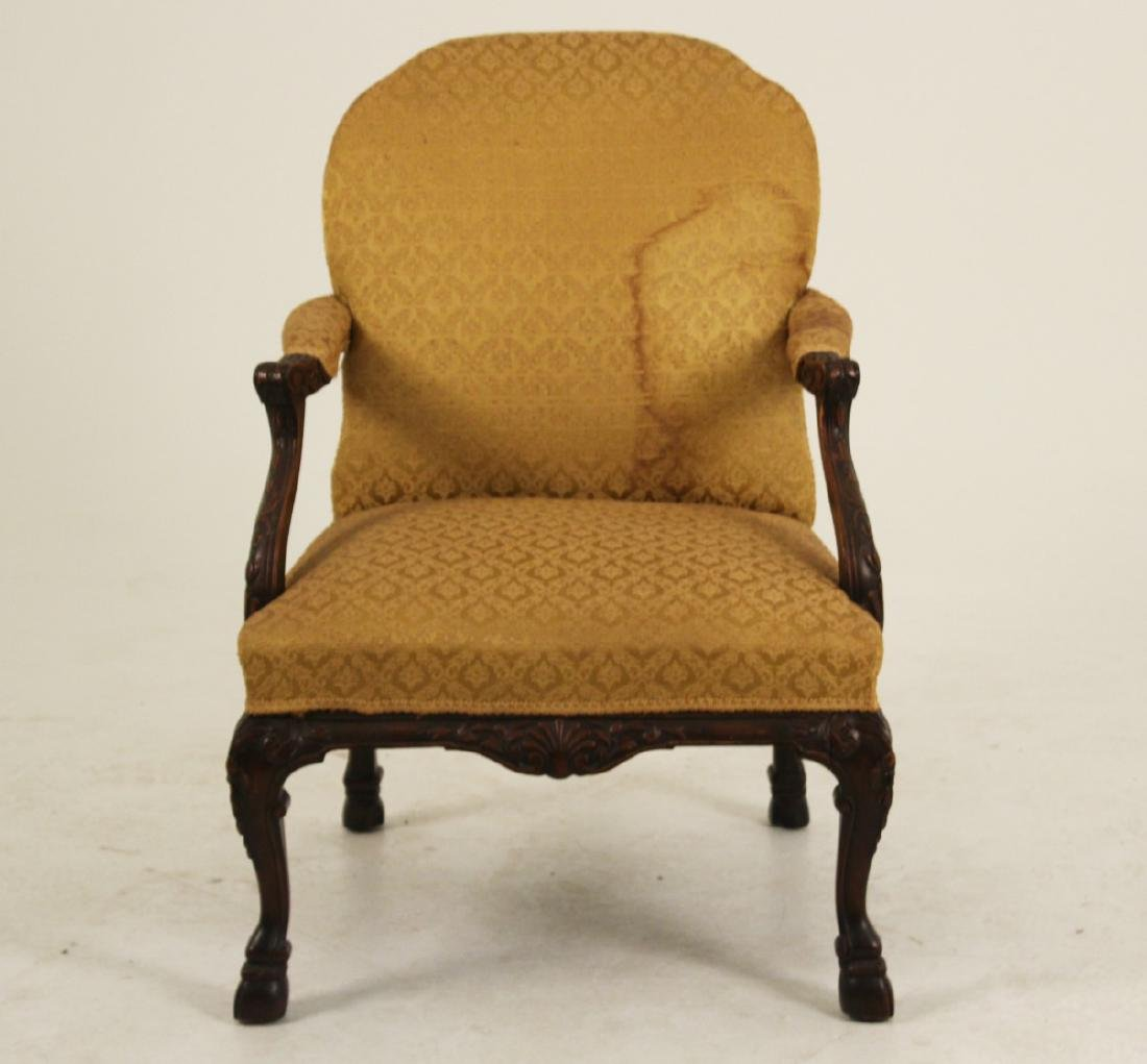 CARVED MAHOGANY GAINSBORO STYLE ARM CHAIR - 3