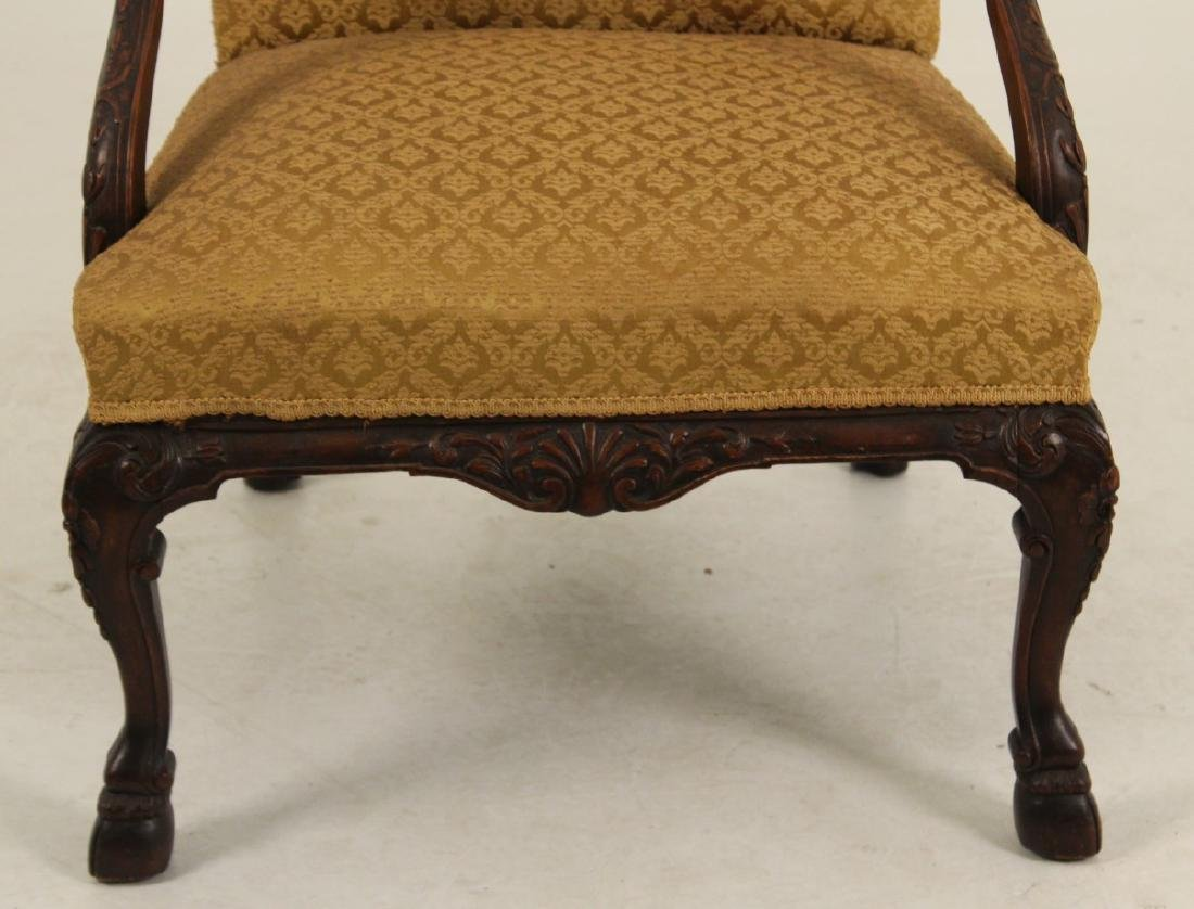 CARVED MAHOGANY GAINSBORO STYLE ARM CHAIR - 4