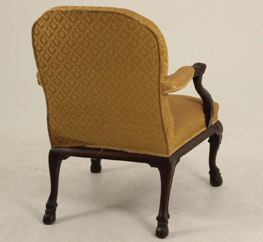 CARVED MAHOGANY GAINSBORO STYLE ARM CHAIR - 5
