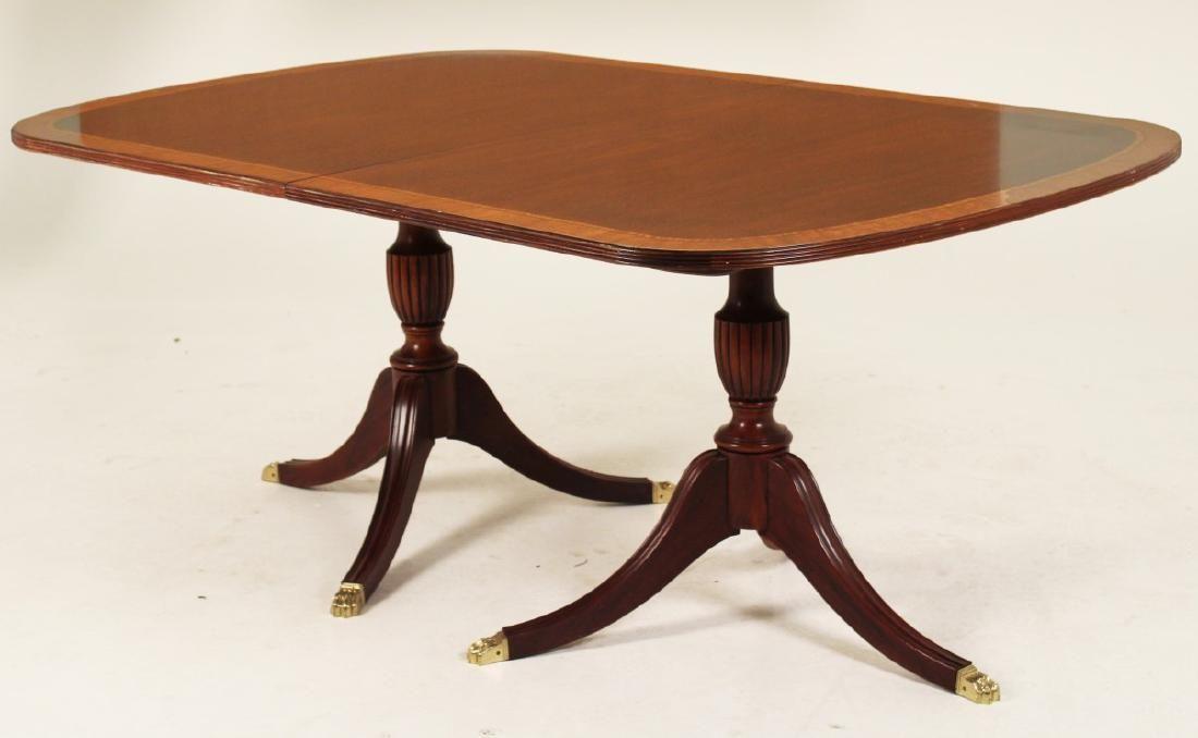 MAHOGANY 2 PEDESTAL DINING TABLE, HENKEL HARRIS