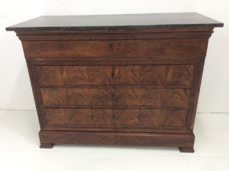 19TH C. LOUIS PHILIPPE MARBLE TOP COMMODE