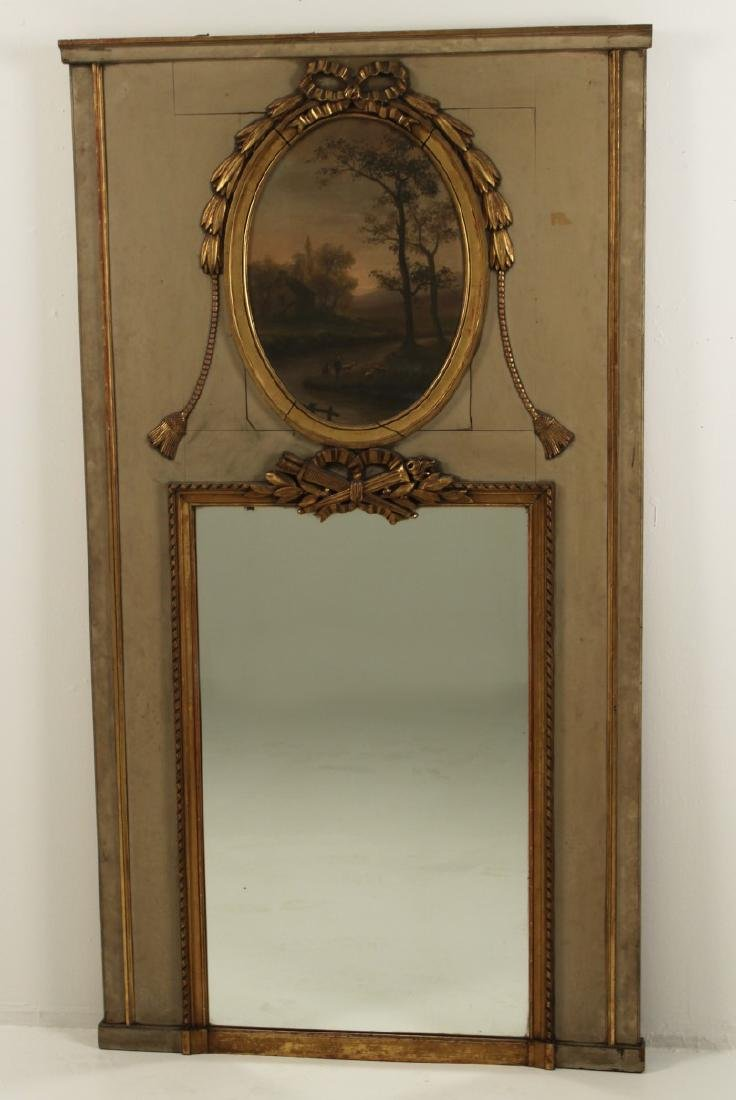 FRENCH POLYCHROME AND GOLD GILT TRUMEAU MIRROR