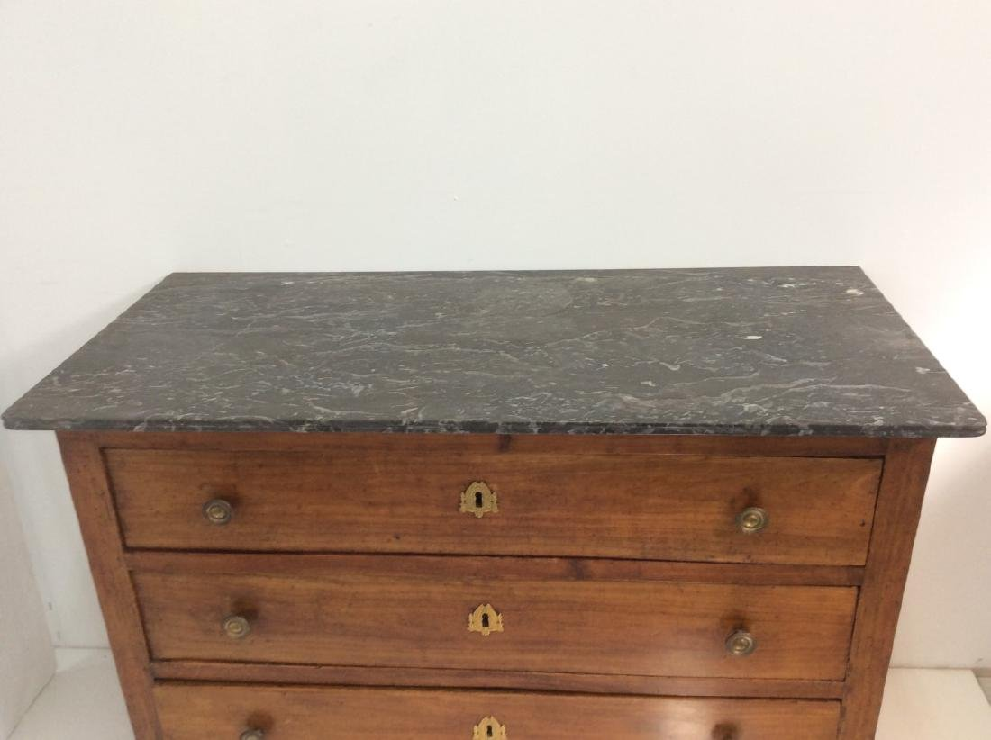 FRENCH FRUITWOOD MARBLE TOP COMMODE - 2