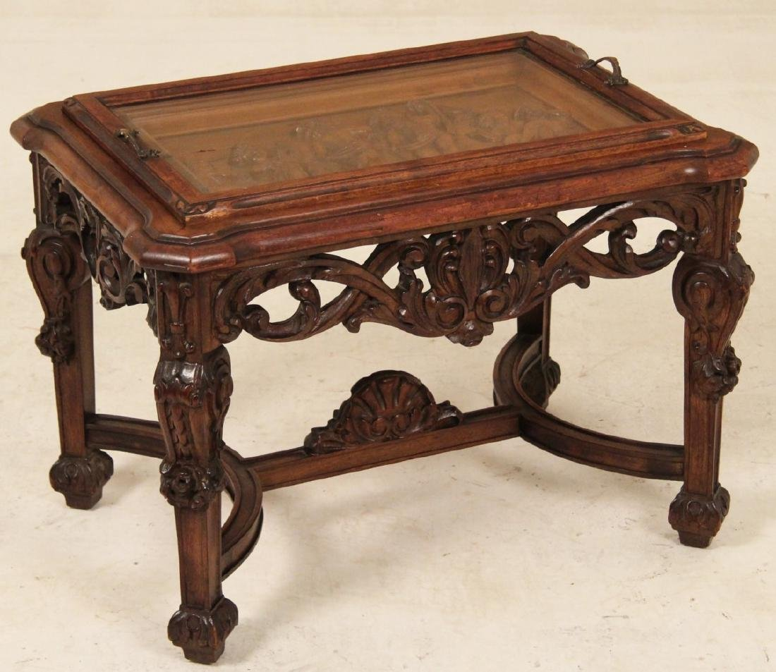 LOUIS XVI STYLE CARVED WALNUT LIFT TOP LOW TABLE