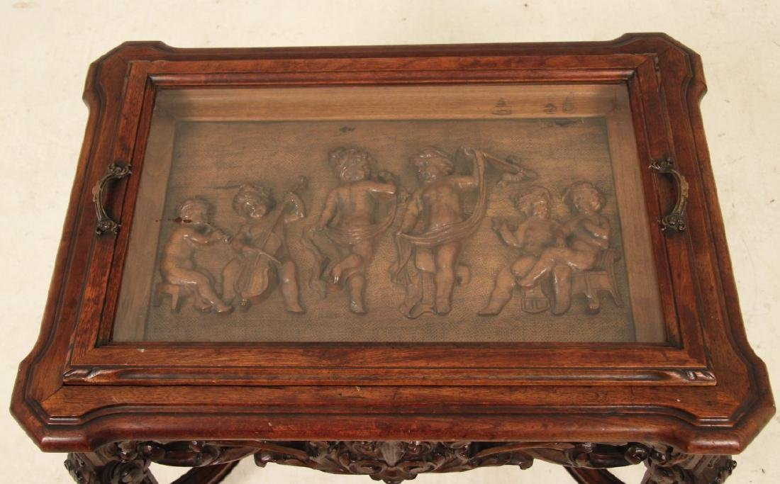 LOUIS XVI STYLE CARVED WALNUT LIFT TOP LOW TABLE - 2