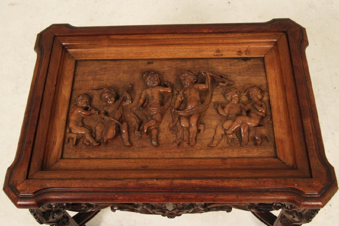 LOUIS XVI STYLE CARVED WALNUT LIFT TOP LOW TABLE - 3