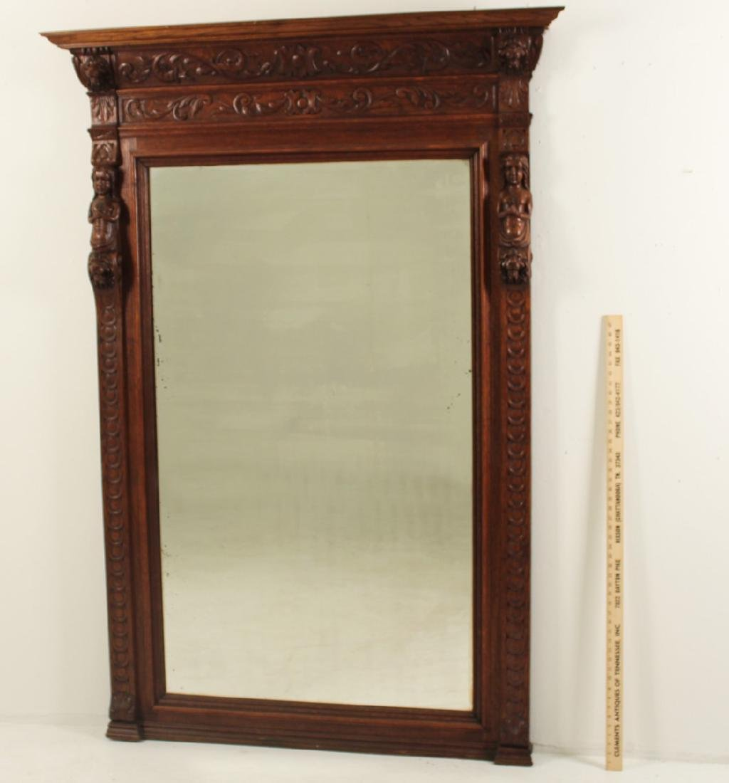 LARGE FRENCH CARVED OAK MIRROR