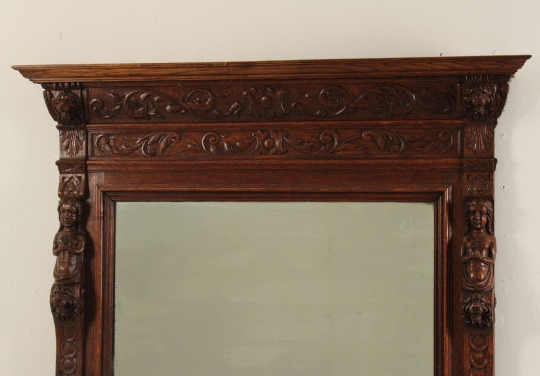 LARGE FRENCH CARVED OAK MIRROR - 2