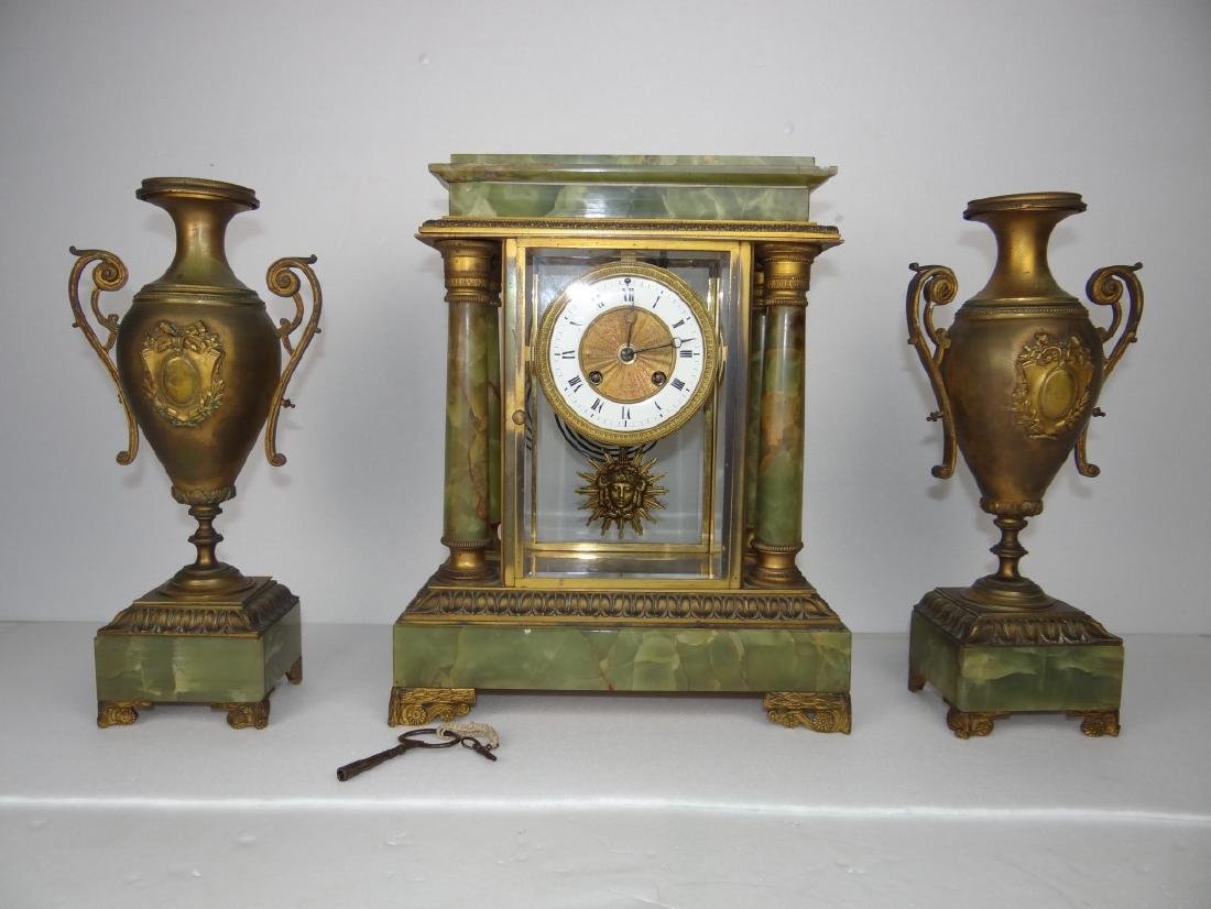 FRENCH 3 PC. MARBLE CLOCK SET