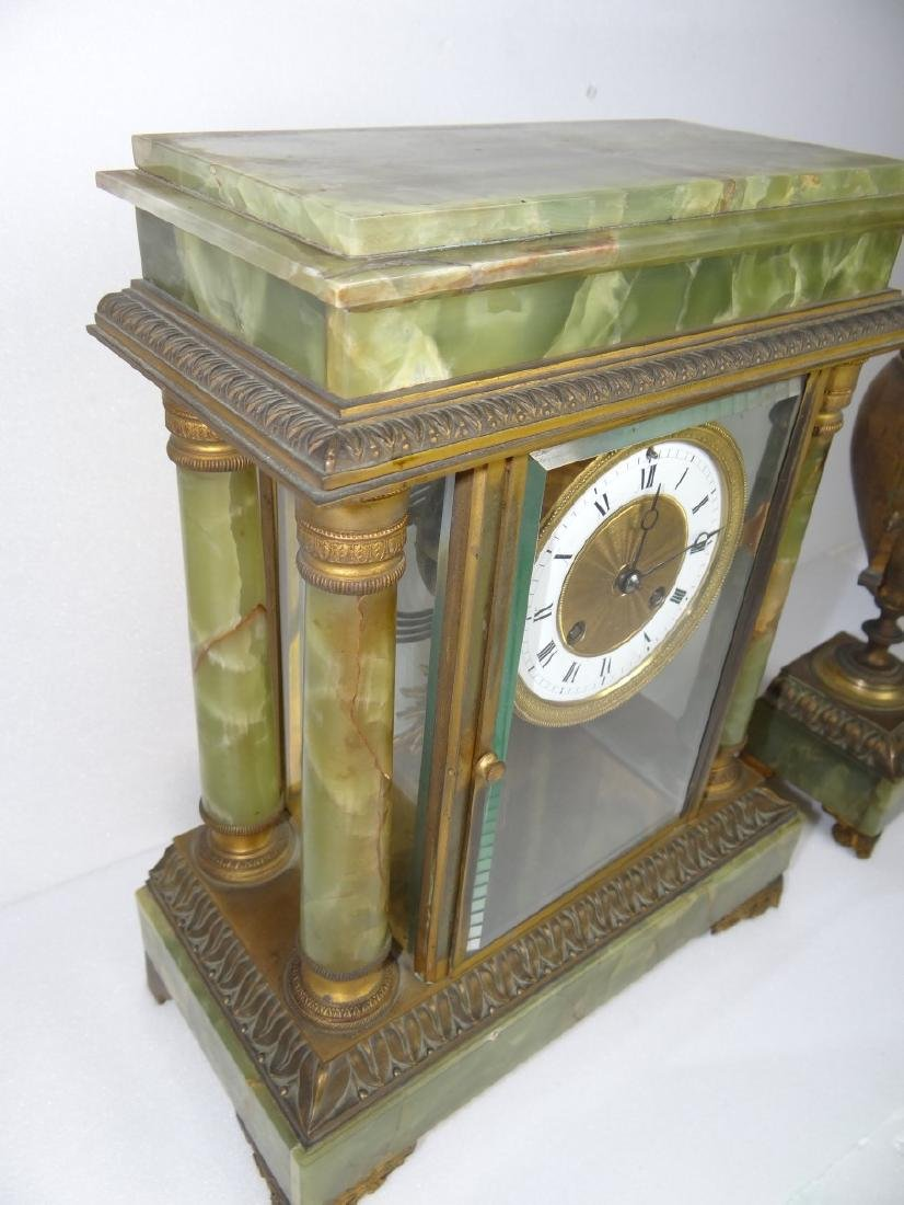 FRENCH 3 PC. MARBLE CLOCK SET - 4