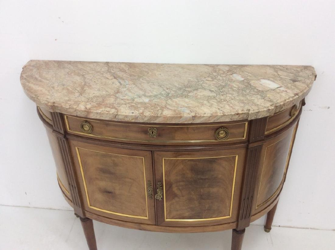 FRENCH TRANSITIONAL STYLE DEMI-LUNE CONSOLE - 7