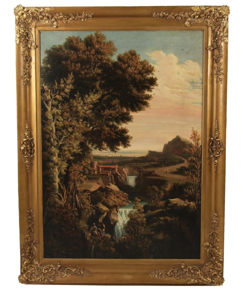 LARGE 19TH C. ITALIAN O/C LANDSCAPE PAINTING