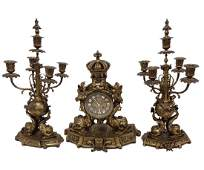 3 PIECE FRENCH GILT BRONZE CLOCK SET