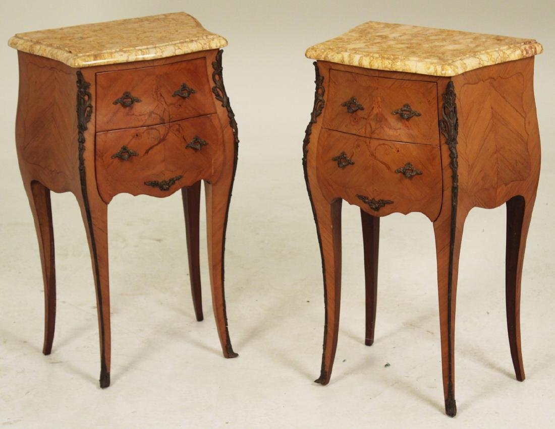 PR. OF LOUIS XV STYLE MARBLE TOP COMMODES
