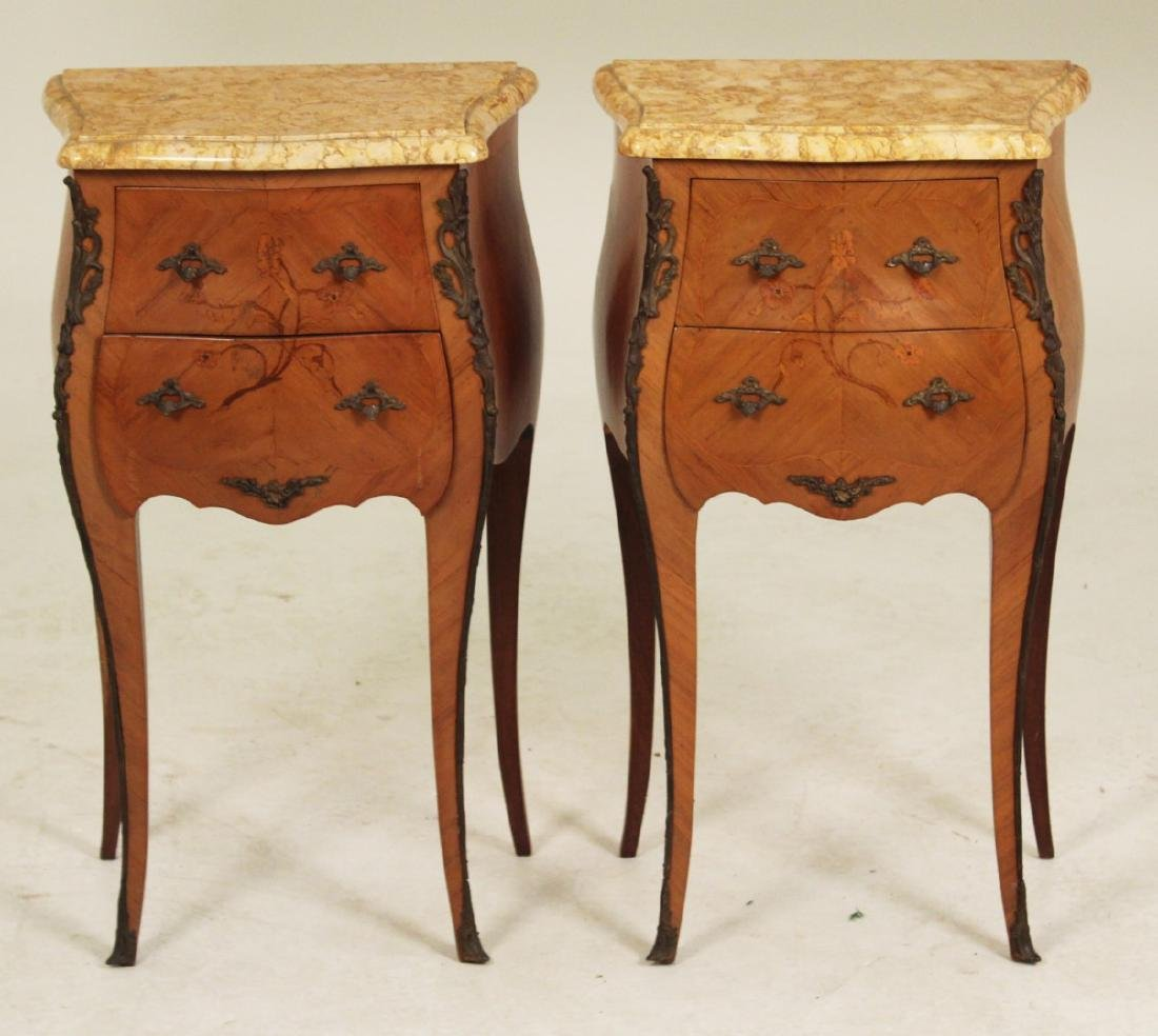 PR. OF LOUIS XV STYLE MARBLE TOP COMMODES - 2