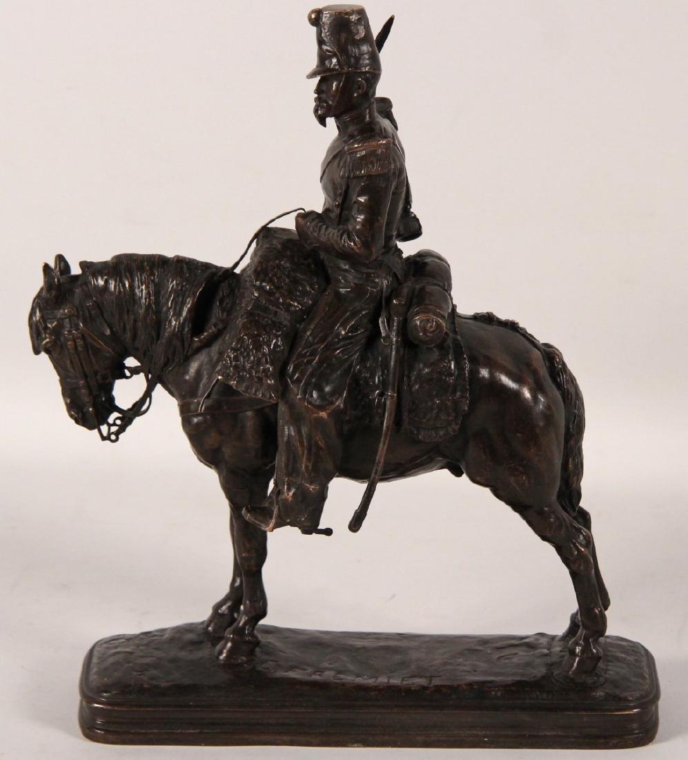 E.FREMIET, FRENCH BRONZE SOLDIER ON HORSEBACK