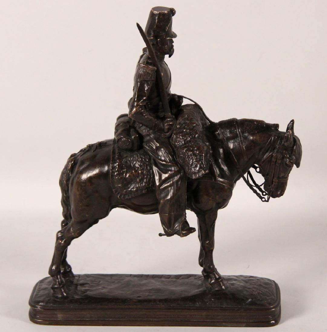 E.FREMIET, FRENCH BRONZE SOLDIER ON HORSEBACK - 2