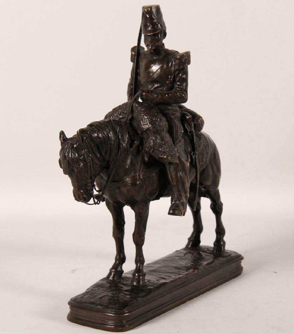 E.FREMIET, FRENCH BRONZE SOLDIER ON HORSEBACK - 3